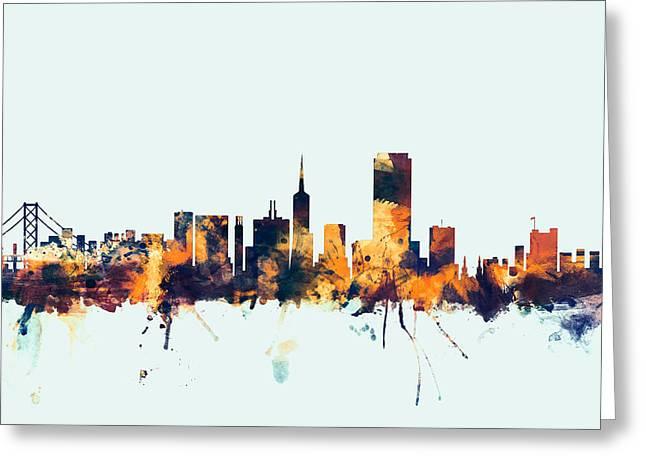 Usa Digital Greeting Cards - San Francisco City Skyline Greeting Card by Michael Tompsett