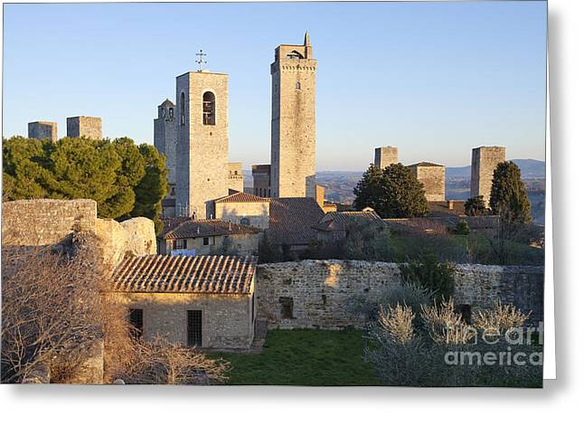 Italian Sunset Greeting Cards - San Gimignano Greeting Card by Andre Goncalves