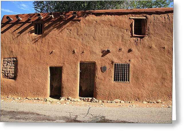 Adobe Greeting Cards - Santa Fe - Adobe Building Greeting Card by Frank Romeo