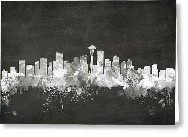 Blackboard Greeting Cards - Seattle Washington Skyline Greeting Card by Michael Tompsett