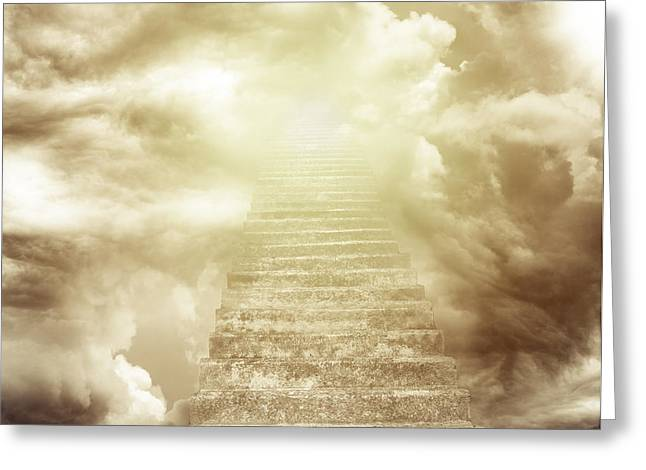 Stairway To Heaven Greeting Cards - Stairway to heaven Greeting Card by Les Cunliffe