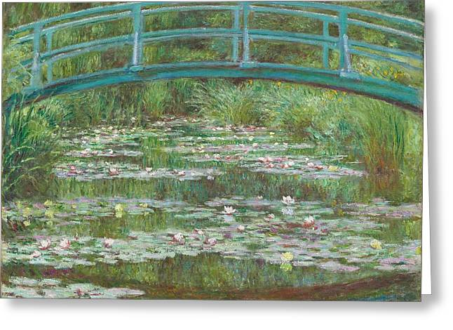 Pink Blossoms Greeting Cards - The Japanese Footbridge Greeting Card by Claude Monet