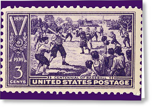Abner Greeting Cards - Baseball Postage Stamp Greeting Card by James Hill