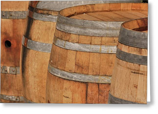 Basement Greeting Cards - Wine Barrel Greeting Card by Brandon Bourdages