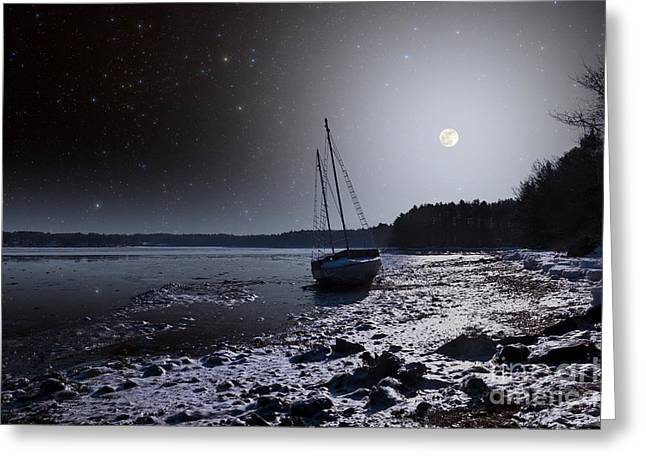 Sailboat Photos Greeting Cards - Winter Full Moon Greeting Card by Larry Landolfi