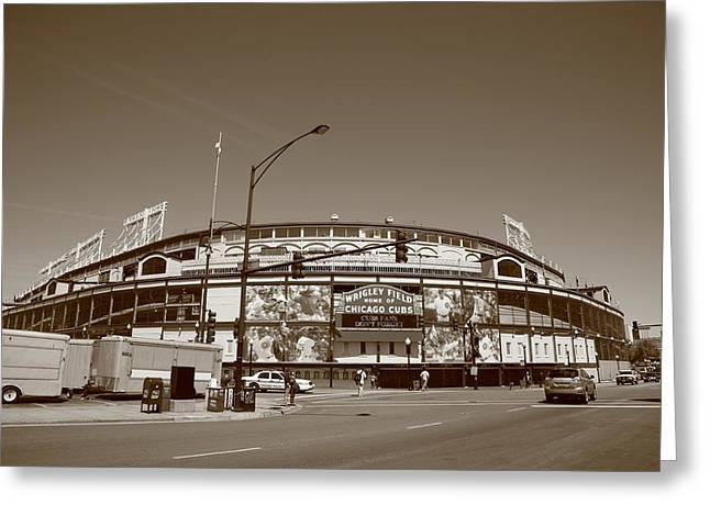 Baseball Photographs Greeting Cards - Wrigley Field - Chicago Cubs Greeting Card by Frank Romeo