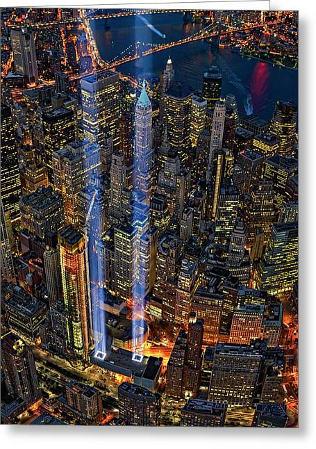 911 Nyc Tribute In Light Greeting Card by Susan Candelario