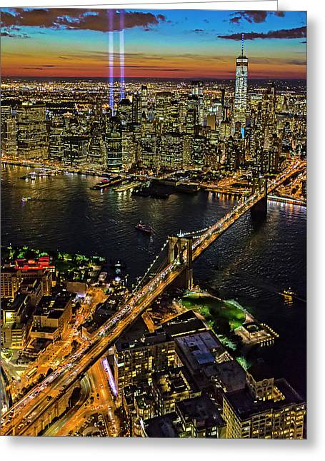 911 Tribute In Lights At Nyc Greeting Card by Susan Candelario