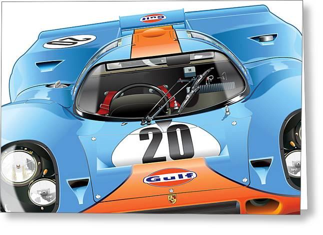 Automotive Art Greeting Cards - 917 Gulf Greeting Card by Alain Jamar