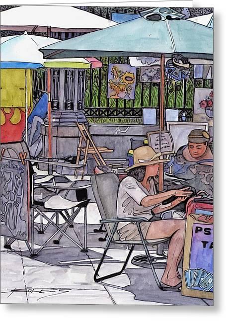 Louisiana Drawings Greeting Cards - 93   French Quarter Jackson Square Tarot Card Reader Greeting Card by John Boles