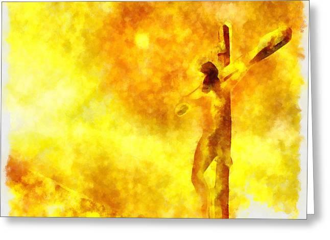 God Greeting Cards - Jesus Christ - Religious Art Greeting Card by Elena Kosvincheva