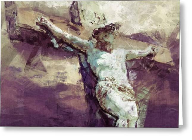Calvary Greeting Cards - Jesus Christ - Religious Art Greeting Card by Elena Kosvincheva