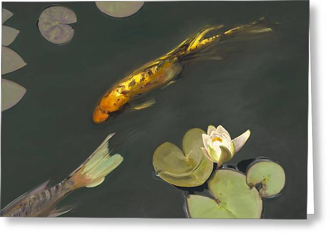 Lilly Pads Greeting Cards - 950 Koi and Lilies Greeting Card by Chuck Larivey