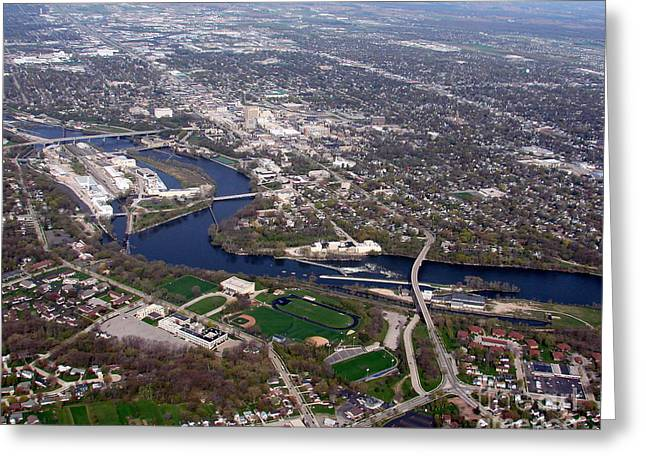 Best Sellers -  - Appleton Art Greeting Cards - A-009 Appleton Wisconsin Downtown Greeting Card by Bill Lang