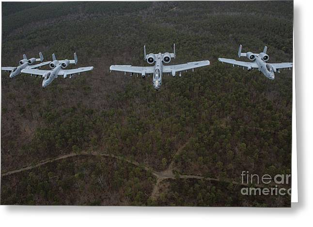 Razorbacks Photographs Greeting Cards - A-10 Thunderbolt Iis Flying Greeting Card by Stocktrek Images