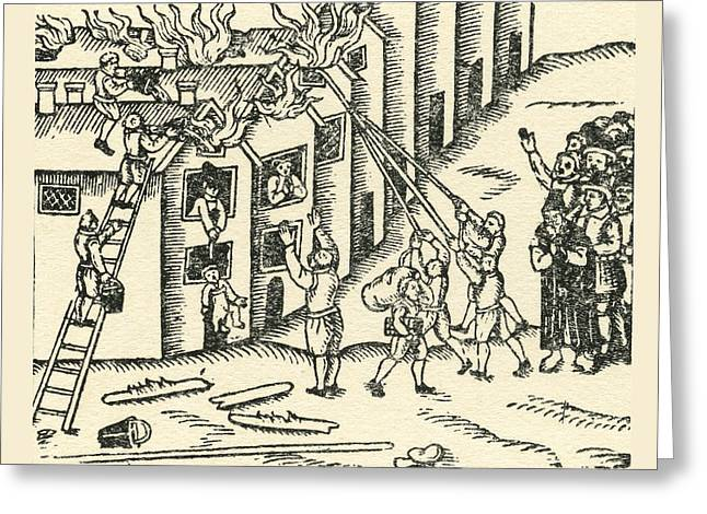 Brigade Drawings Greeting Cards - A 16th Century Fire Brigade At Work Greeting Card by Ken Welsh