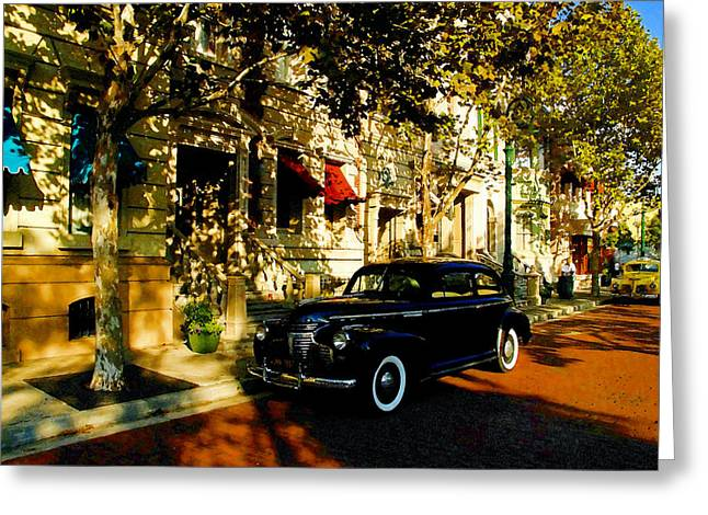 Antic Car Greeting Cards - A 1940s street scene Greeting Card by David Lee Thompson