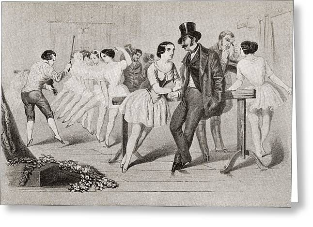 Ballet Dancers Drawings Greeting Cards - A 19th Century Ballet Class. From Greeting Card by Ken Welsh