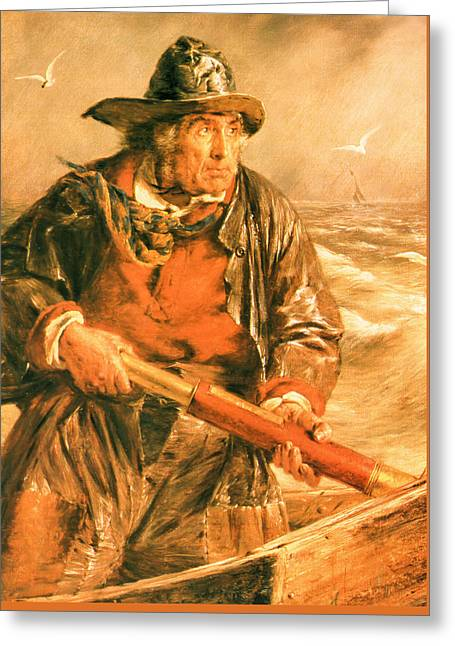 Schooner Greeting Cards - A 19th Century Mariner Faces the Elements Greeting Card by Unknown