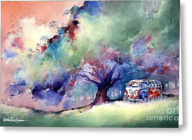 A 23 Window VW Bus at Rest Greeting Card by Michael David Sorensen