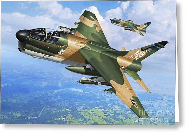 A-7d Corsair II Greeting Card by Stu Shepherd