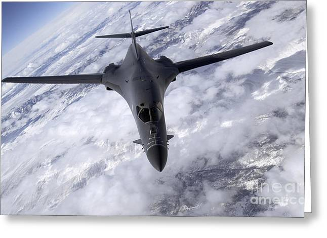Jet Bomber Greeting Cards - A B-1b Lancer Flies Over The Nevada Greeting Card by Stocktrek Images