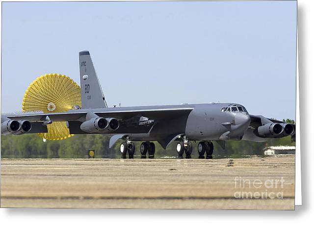 Braking Greeting Cards - A B-52 Stratofortress Deploys Its Drag Greeting Card by Stocktrek Images