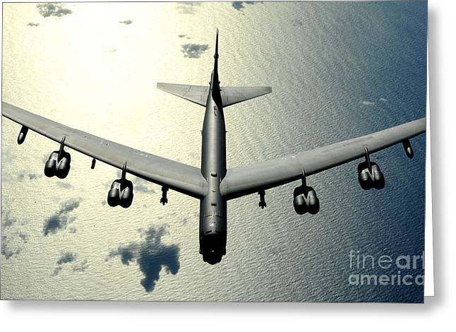 Fb Greeting Cards - A B-52 Stratofortress In Flight Greeting Card by Celestial Images
