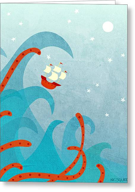 Ocean Sailing Greeting Cards - A Bad Day for Sailors Greeting Card by Nic Squirrell