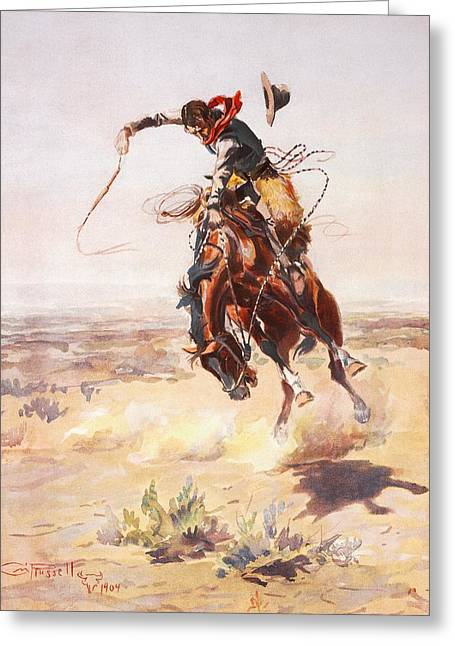Bronc Greeting Cards - A Bad Hoss Greeting Card by Charles Russell