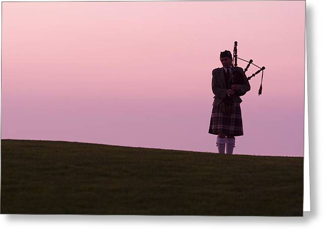 Golfcourse Greeting Cards - A Bagpiper On A Golf Course Greeting Card by Richard Nowitz