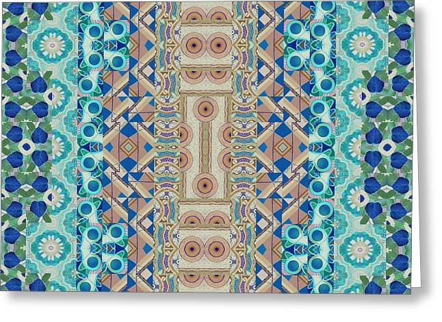 Sienna Greeting Cards - A Balancing Act - T J O D Mandala Series Puzzle 5-8 Variation Greeting Card by Helena Tiainen