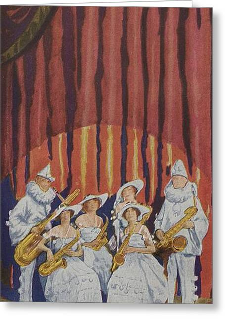 Bands On Stage Drawings Greeting Cards - A Band On Stage Playing Charles Gerard Conn Saxophones Greeting Card by American School