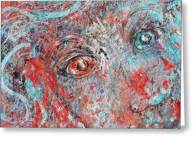 A Bare And Broken Rocky Face Greeting Card by Debra Baldwin
