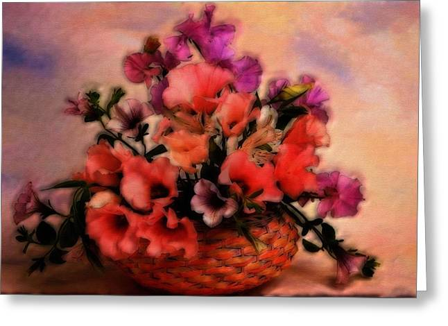 Floral Digital Art Greeting Cards - A Basket of Flowers Greeting Card by Mario Carini
