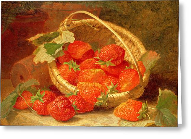 Food And Beverage Greeting Cards - A Basket of Strawberries on a stone ledge Greeting Card by Eloise Harriet Stannard