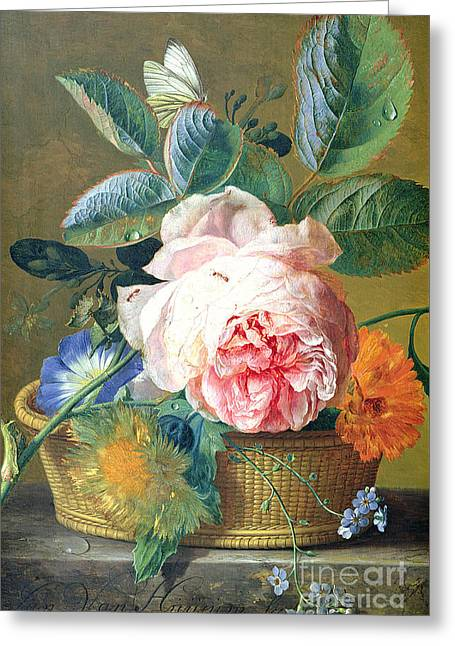 A Basket With Flowers Greeting Card by Jan van Huysum