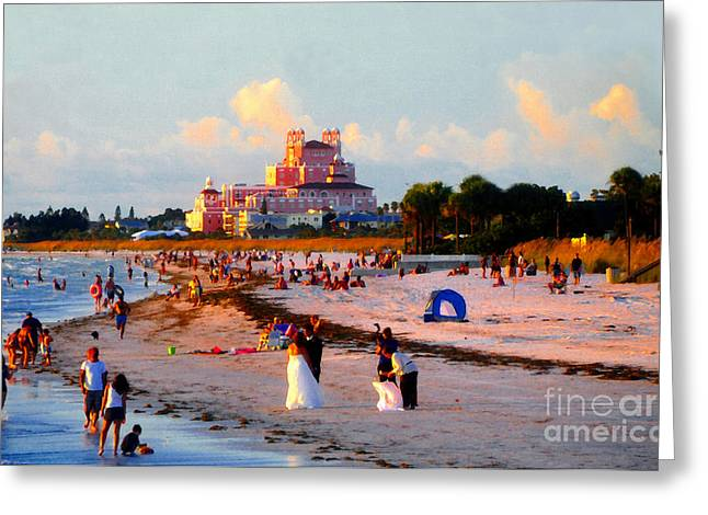 St Petersburg Florida Greeting Cards - A Beach Scene Greeting Card by David Lee Thompson