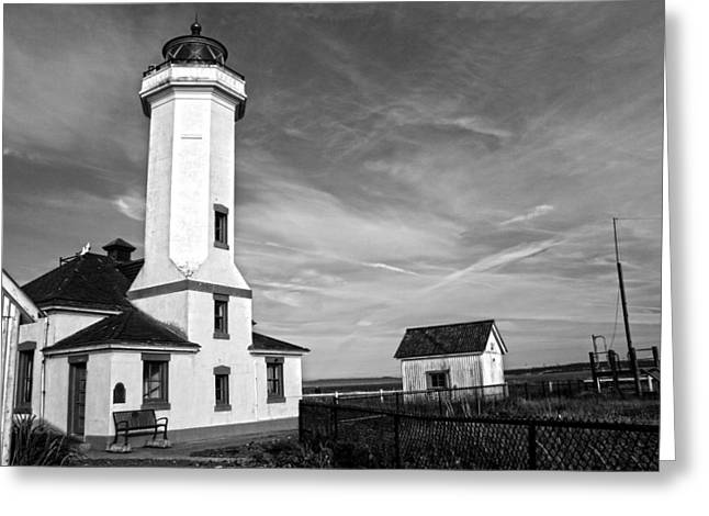 A Beacon Of Light - Bw Greeting Card by Kerry Langel