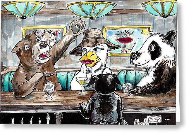 Bartender Drawings Greeting Cards - A Bear a Duck and a Panda Walk into a Bar Greeting Card by Big Tasty