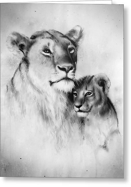 Duo Tone Paintings Greeting Cards - A beautiful airbrush painting of a loving lion mother and her baby cub Greeting Card by Jozef Klopacka
