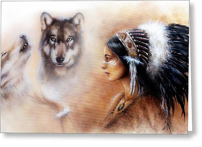 Native American Spirit Portrait Paintings Greeting Cards - A beautiful airbrush painting of a young indian woman wearing  Greeting Card by Jozef Klopacka