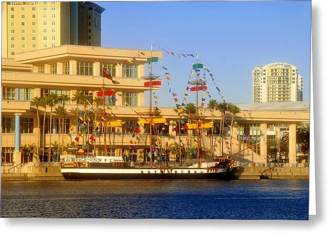Pirate Ship Greeting Cards - A beautiful day in Tampa Bay Greeting Card by David Lee Thompson