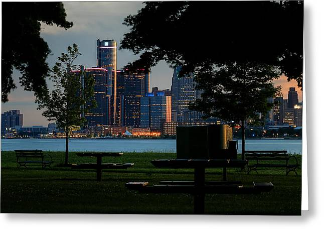Rencen Greeting Cards - A Beautiful Evening In Detroit Greeting Card by Bryan Levy