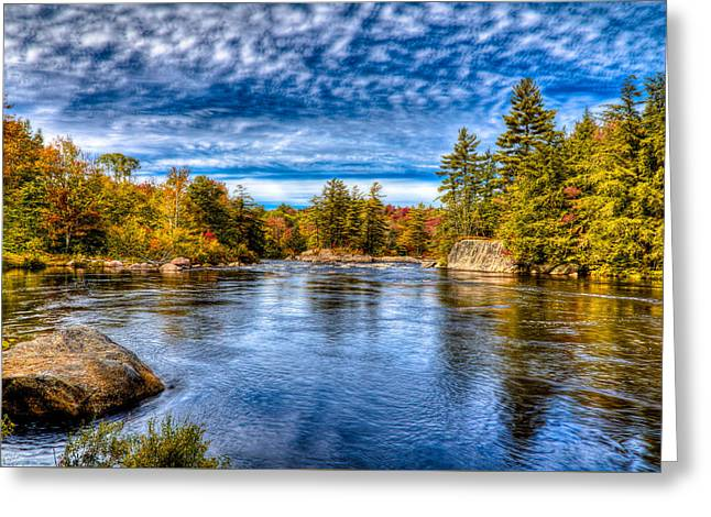 Reflections In River Greeting Cards - A Beautiful Fall day on the Moose Greeting Card by David Patterson