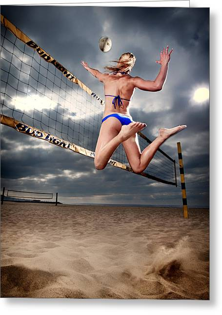Athletic Sport Greeting Cards - A Beauty of a Spike Greeting Card by Kevin Schmitz