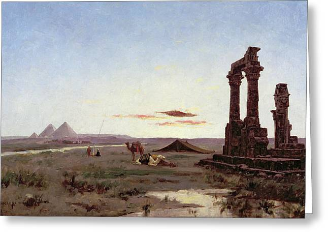 Alexandre Greeting Cards - A Bedouin Encampment by a Ruined Temple  Greeting Card by Alexandre Gabriel Decamps