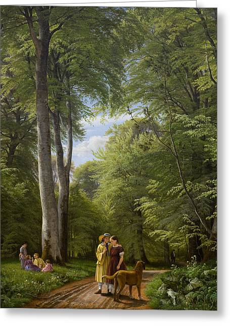Dog Walking Greeting Cards - A Beech Wood in May near Iselingen Manor Greeting Card by Peter Christian Skovgaard