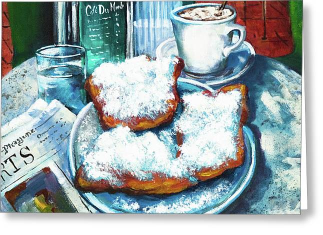 Quarter Greeting Cards - A Beignet Morning Greeting Card by Dianne Parks