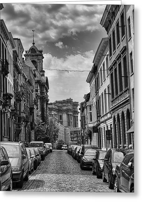 Artist Photographs Greeting Cards - A Belgian Street in Brussels Greeting Card by Georgia Fowler